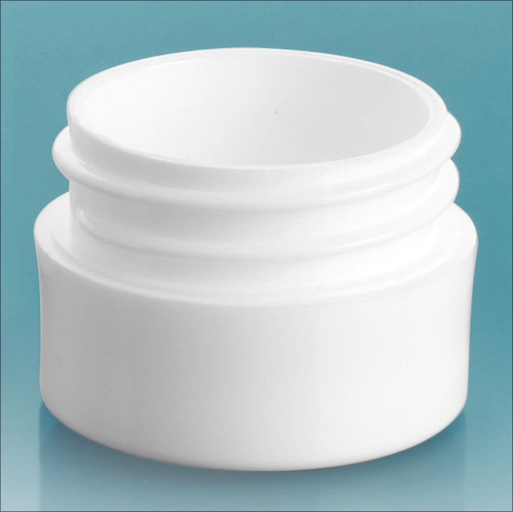 1/8 oz White Polypropylene Thick Wall Jars  (Bulk), Caps Not Included