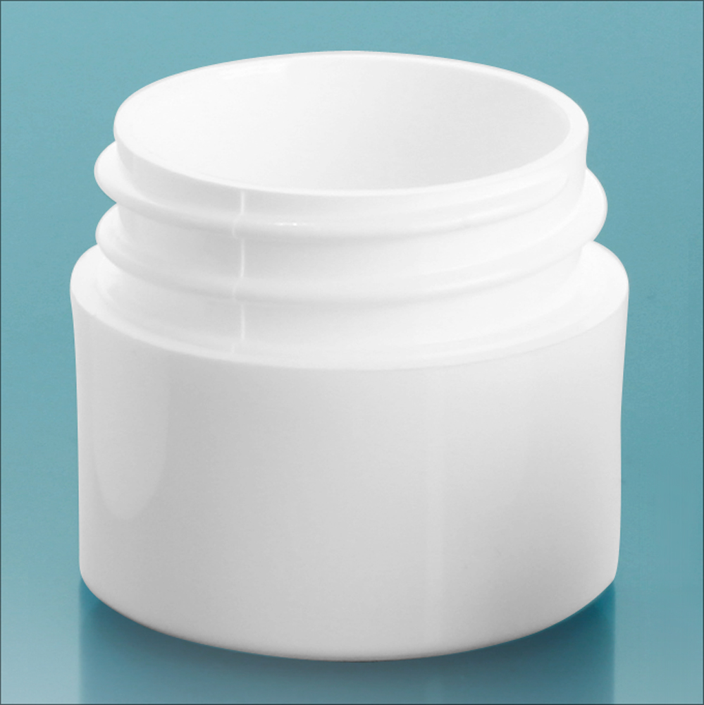 1/4 oz White Polypropylene Thick Wall Jars  (Bulk), Caps Not Included