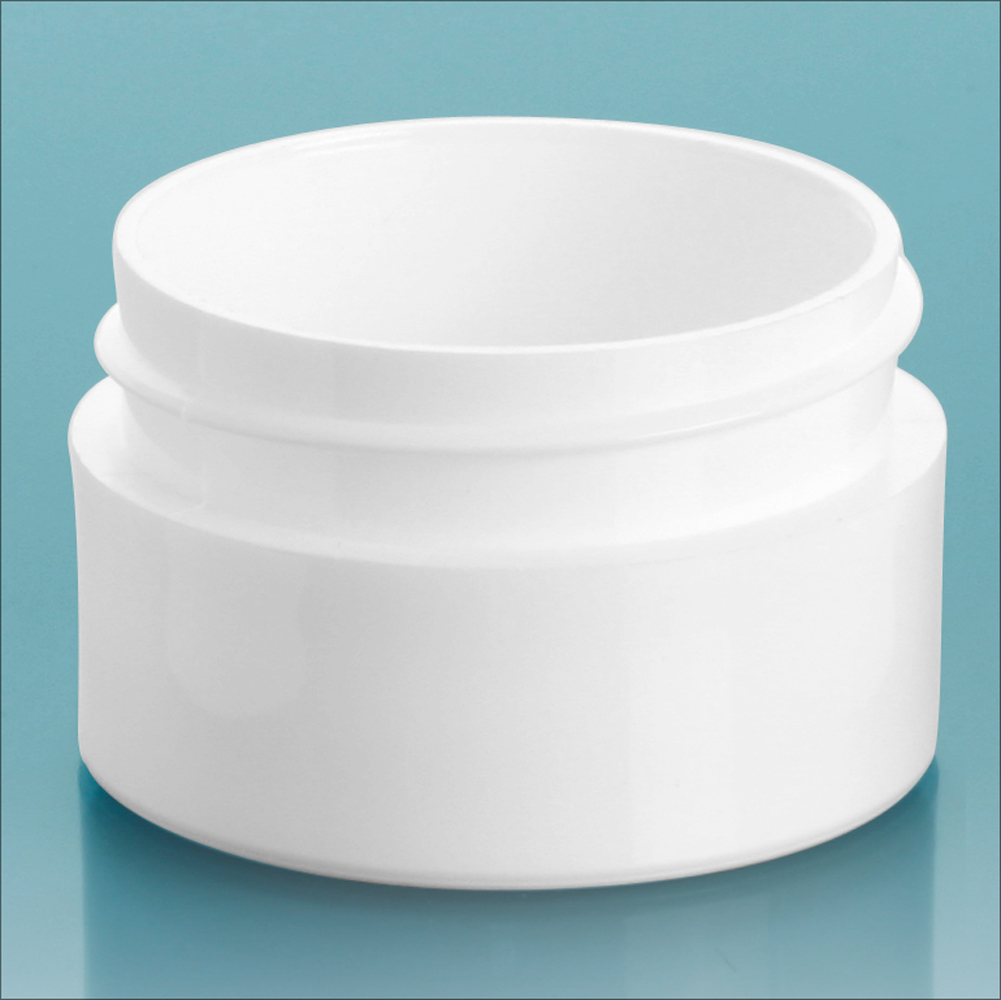 1/2 oz White Polypropylene Thick Wall Jars  (Bulk), Caps Not Included