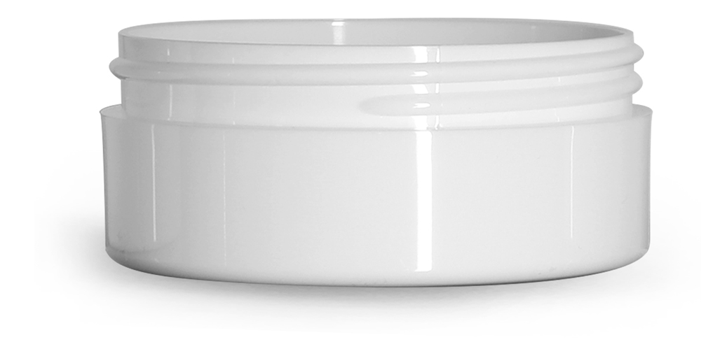 4 oz White Polypropylene Thick Wall Jars  (Bulk), Caps Not Included