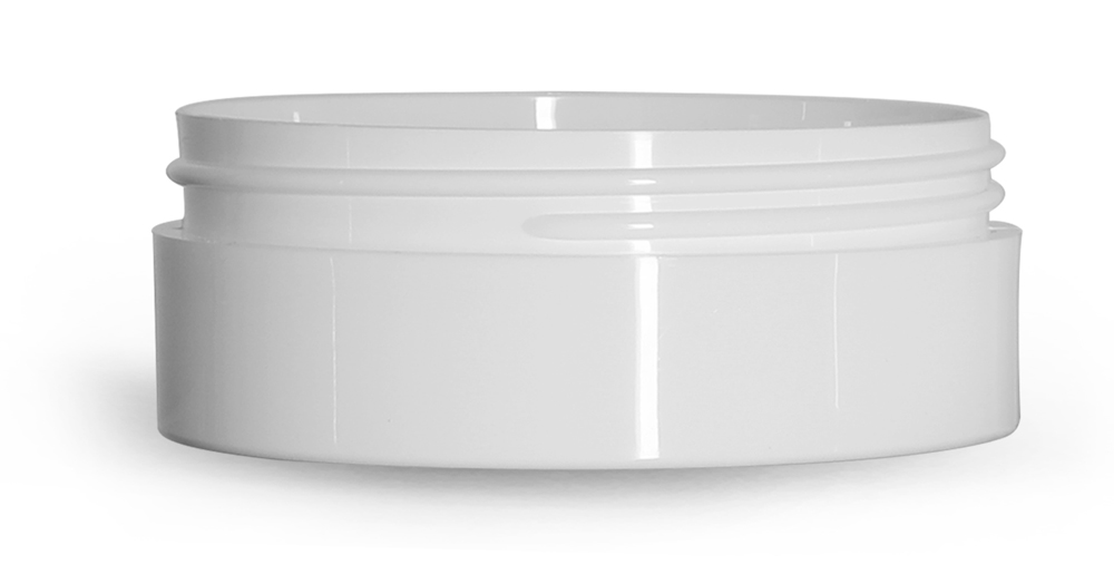 6 oz White Polypropylene Thick Wall Jars  (Bulk), Caps Not Included
