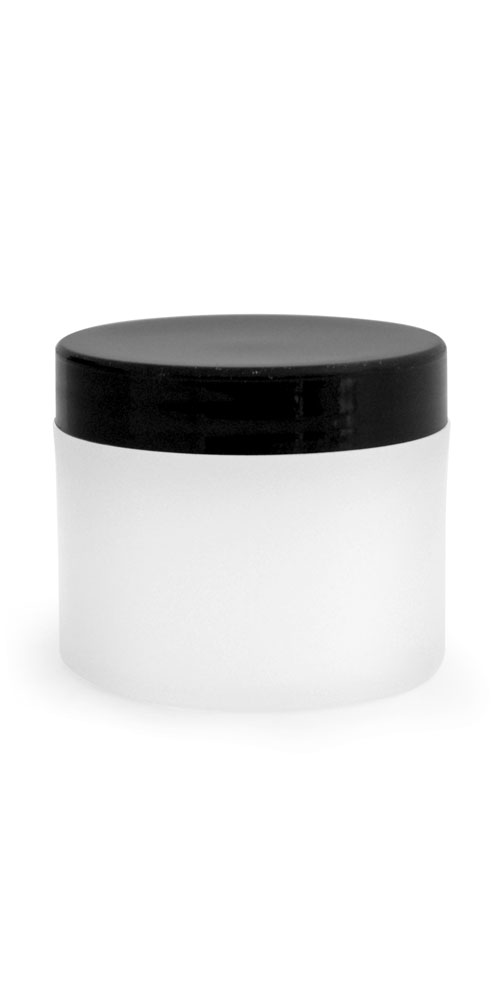 2 oz Frosted Natural Thick Wall Polypro Jars w/ Black Smooth Plastic Cap
