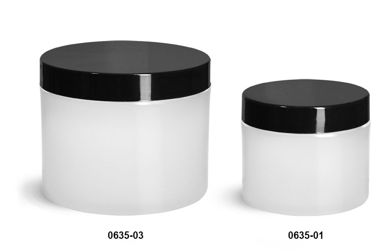 Plastic Jars, Frosted Natural Thick Wall Polypropylene Jars w/ Black Smooth Plastic Cap