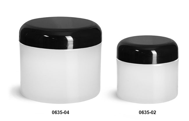 Plastic Jars, Frosted Natural Thick Wall Polypro Jars w/ Black Dome Cap