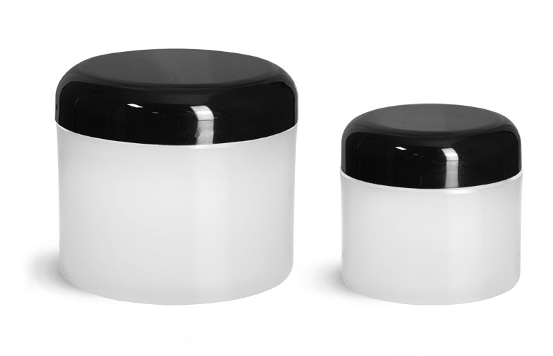 Polypropylene Plastic Jars, Frosted Thick Wall Jars w/ Black Dome Cap