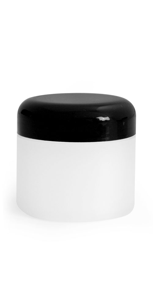 2 oz Plastic Jars, Frosted Natural Thick Wall Polypropylene Jars w/ Black Dome Cap