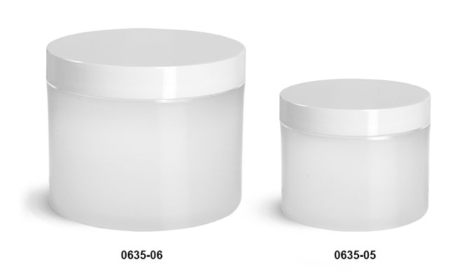 Plastic Jars, Frosted Natural Thick Wall Polypropylene Jars w/ White Smooth Plastic Lined Caps