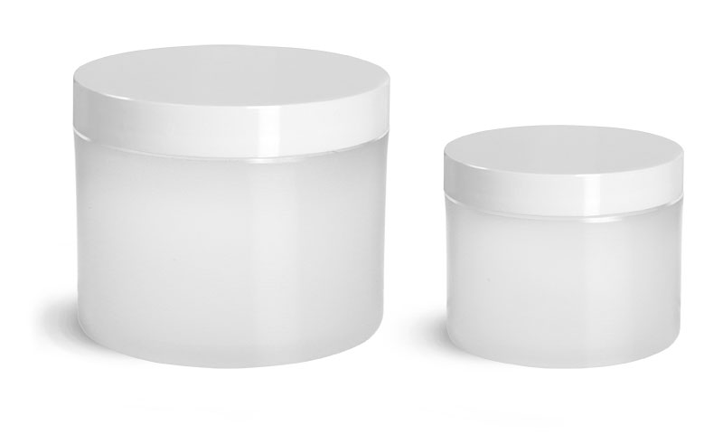Polypropylene Plastic Jars, Frosted Thick Wall Jars w/ White Smooth Plastic Lined Caps
