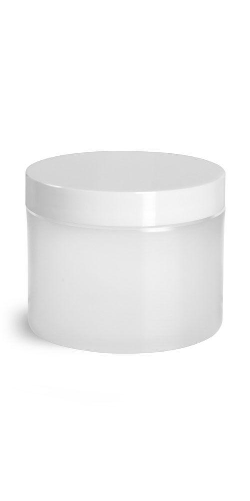 2 oz Frosted Natural Thick Wall Polypro Jars w/ White Smooth Plastic Lined Caps