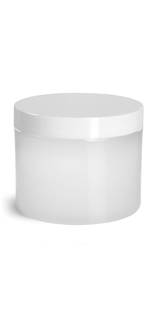 Frosted Natural Thick Wall Polypro Jars w/ White Smooth Plastic Lined Caps