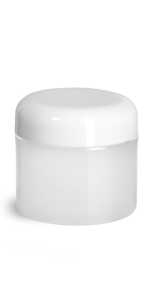 2 oz Plastic Jars, Frosted Natural Thick Wall Polypropylene Jars w/ White Lined Dome Caps