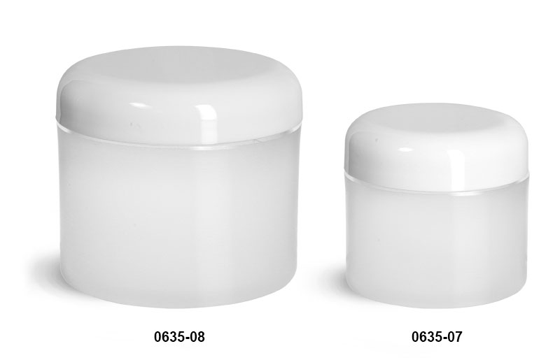 Plastic Jars, Frosted Natural Thick Wall Polypro Jars w/ White Lined Dome Caps