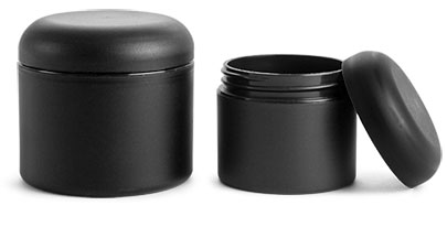 Polypropylene (PIR) Plastic Jars, Frosted Black Straight Sided Jars w/ Black Dome Caps