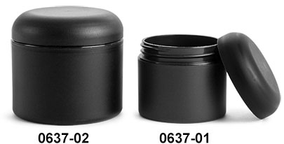 Plastic Jars, Frosted Black Polypropylene (PIR) Straight Sided Jars w/ Black Unlined Dome Caps