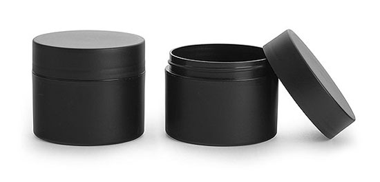 Plastic Jars, 8 oz Frosted Black Polypropylene (PIR) Straight Sided Jars w/ Black Deep Skirted Unlined Caps