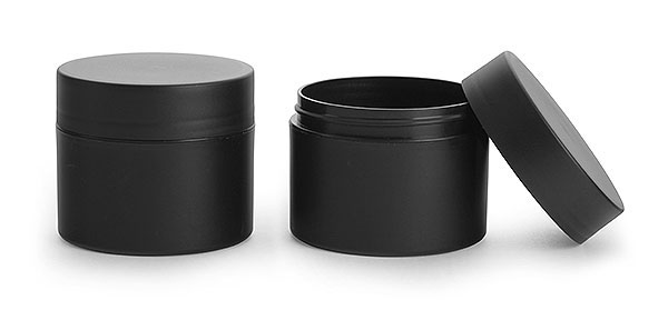 Polypropylene (PIR) Plastic Jars, Frosted Black Straight Sided Jars w/ Black Deep Skirted Caps