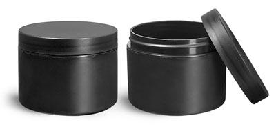 Plastic Jars, Frosted Black Polypropylene (PIR) Straight Sided Jars w/ Black Lined Caps