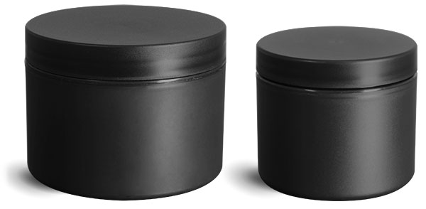 Polypropylene (PIR) Plastic Jars, Frosted Black Straight Sided Jars w/ Black Lined Caps