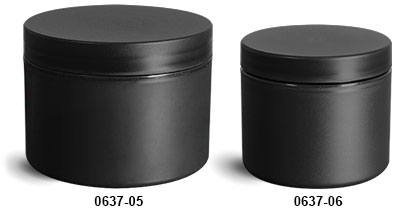Plastic Jars, Frosted Black Polypropylene (PIR) Straight Sided Jars w/ Black Lined Caps