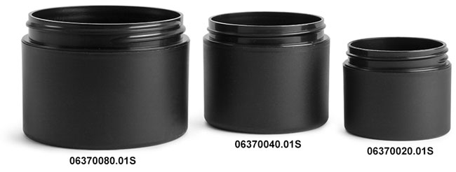 Plastic Jars, Frosted Black Polypro (PIR) Straight Sided Jars (Bulk), Caps NOT Included