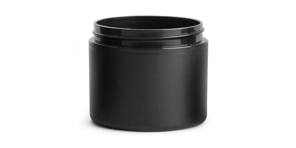 4 oz Frosted Black Polypro (PIR) Straight Sided Jars (Bulk), Caps NOT Included