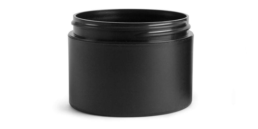 Frosted Black Polypro (PIR) Straight Sided Jars (Bulk), Caps NOT Included