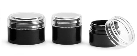 Polypropylene Plastic Jars, Black Thick Wall Jars w/ Clear Caps