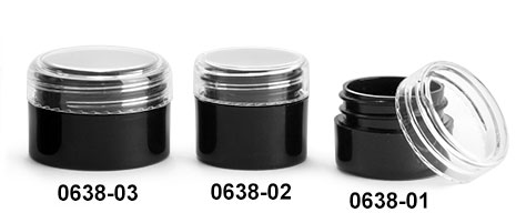 Plastic Jars, Black Polypropylene Straight Sided Thick Wall Jars w/ Clear Caps