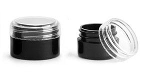 Polypropylene Plastic Jars, Black Thick Wall Jars w/ Clear Caps