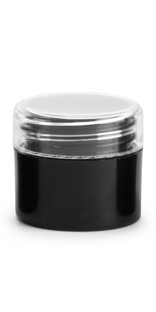 1/4 oz Black Polypro Straight Sided Thick Wall Jars w/ Clear Caps
