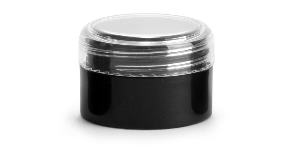 1/2 oz Black Polypro Straight Sided Thick Wall Jars w/ Clear Caps
