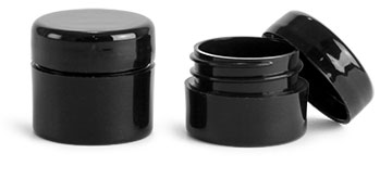 Polypropylene Plastic Jars, Black Thick Wall Jars w/ Black Lined Dome Caps