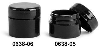 Plastic Jars, Black Polypropylene Straight Sided Thick Wall Jars w/ Black Lined Dome Caps