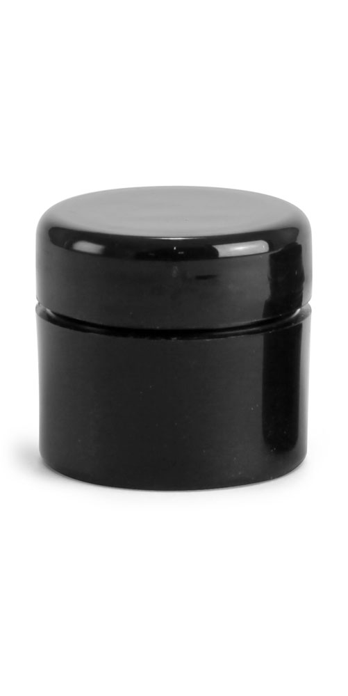 Black Polypro Straight Sided Thick Wall Jars w/ Black Lined Dome Caps