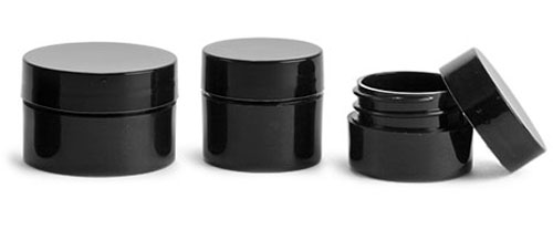 Polypropylene Plastic Jars, Black Thick Wall Jars w/ Black Smooth Lined Caps