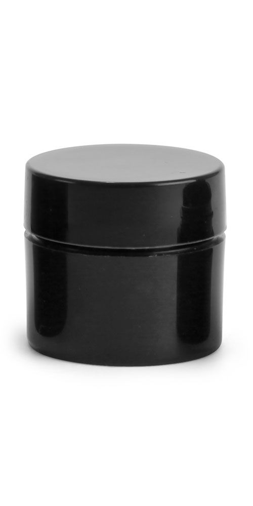 1/4 oz Black Polypro Straight Sided Thick Wall Jars w/ Black Smooth Lined Caps