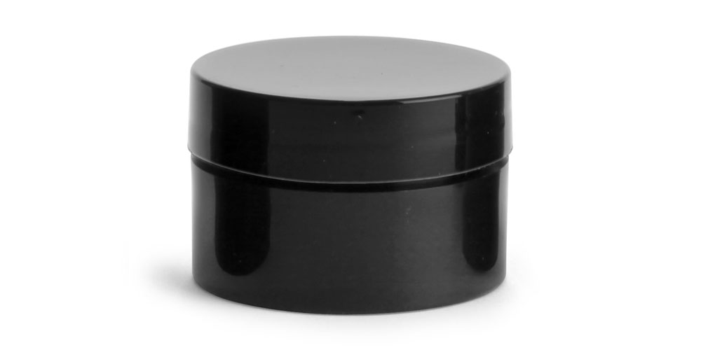 1/2 oz Black Polypro Straight Sided Thick Wall Jars w/ Black Smooth Lined Caps