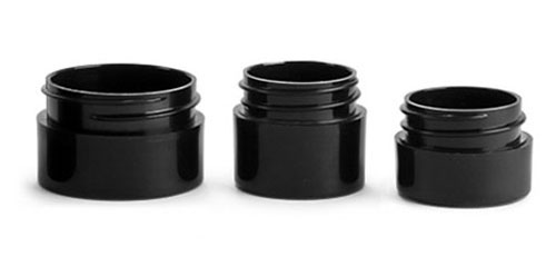 Black Polypro Straight Sided Thick Wall Jars (Bulk), Caps NOT Included