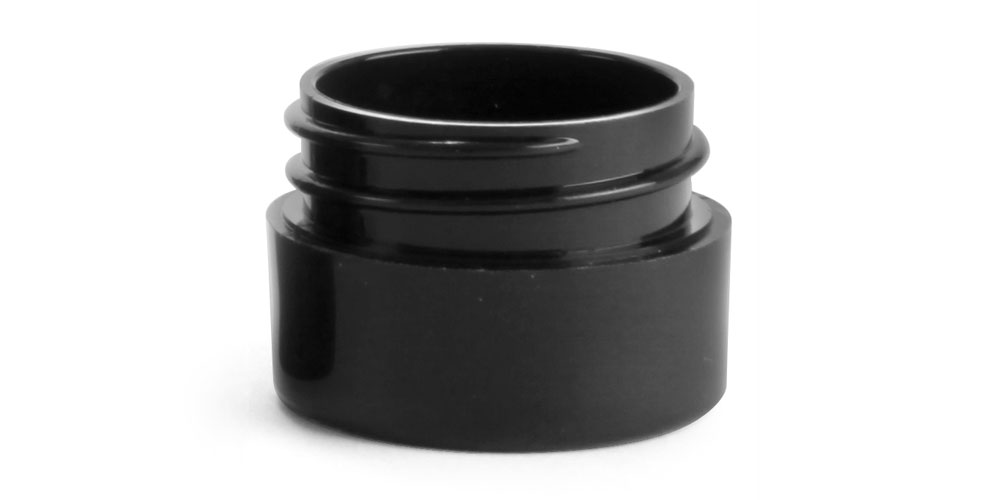 1/8 oz Black Polypro Straight Sided Thick Wall Jars (Bulk), Caps NOT Included