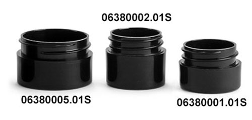 Plastic Jars, Black Polypro Straight Sided Thick Wall Jars (Bulk), Caps NOT Included