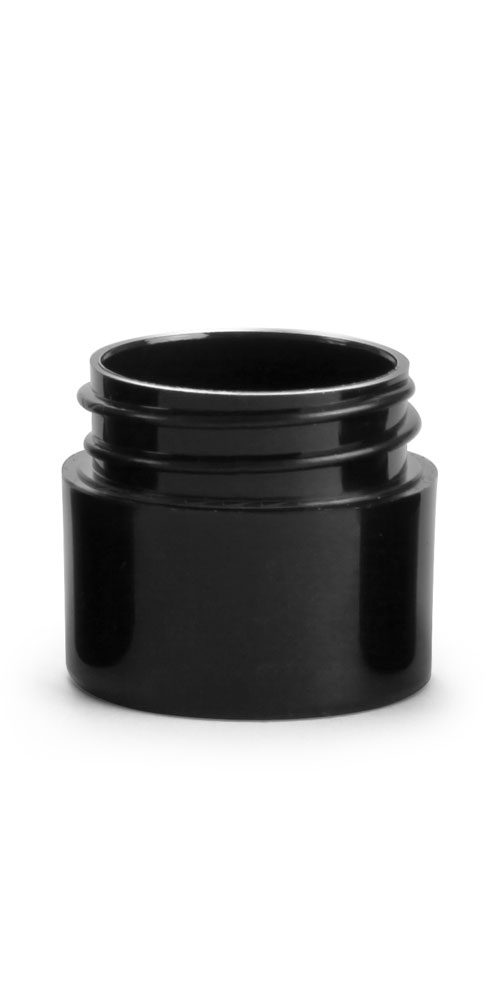 1/4 oz Black Polypro Straight Sided Thick Wall Jars (Bulk), Caps NOT Included