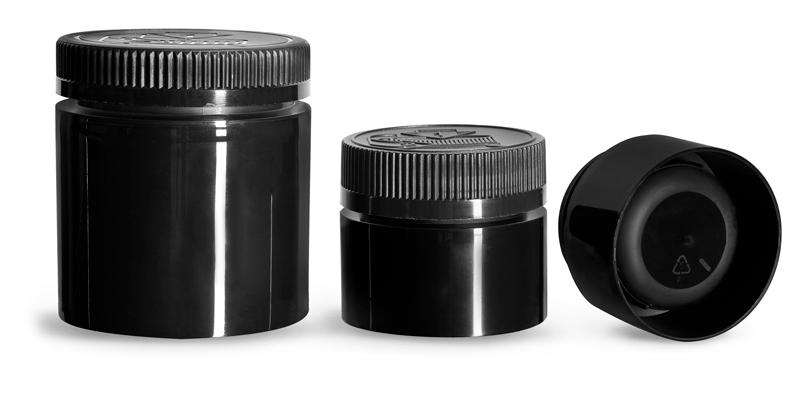 3 oz  Plastic Jars, Black Polypropylene Open Bottom Jars w/ Black Child Resistant Caps