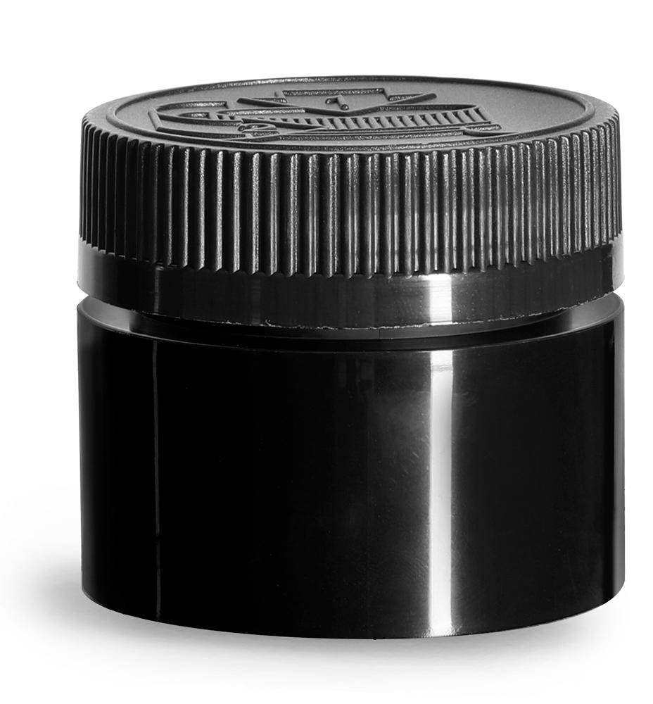 1.5 oz Black Polypropylene Open Bottom Jars w/ Black PE Lined Child Resistant Caps