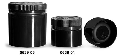 Plastic Jars, Black Polypropylene Open Bottom Jars w/ Black Child Resistant Caps