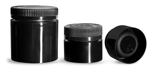 Polypropylene Plastic Jars, Black Open Bottom Jars w/ Black Child Resistant Caps