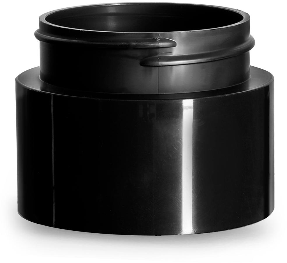 Plastic Jars, Black Polypropylene Round Open Bottom Jars (Bulk), Caps Not Included