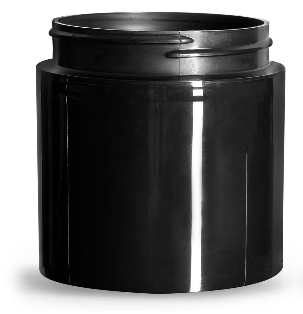 6 oz Plastic Jars, Black Polypropylene Round Open Bottom Jars (Bulk), Caps Not Included