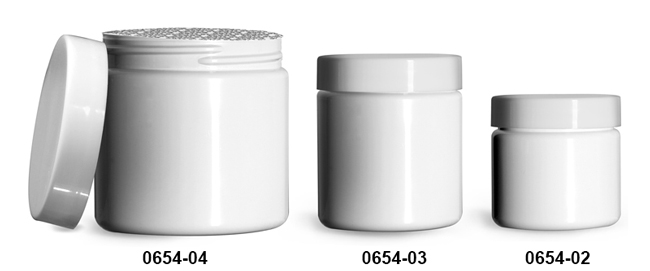 Plastic Jars, White PET (PCR) Straight Sided Jars w/ Smooth White PS22 Lined Caps