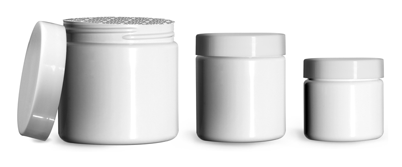 PET (PCR) Plastic Jars, White Straight Sided Jars w/ Smooth White PS22 Lined Caps