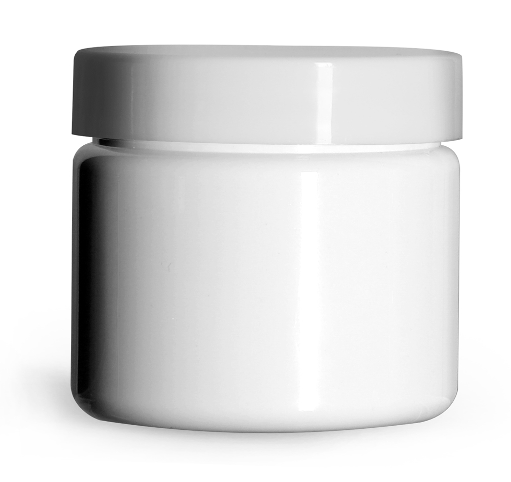 2 oz White PET (PCR) Straight Sided Jars w/ Smooth White PE Lined Caps